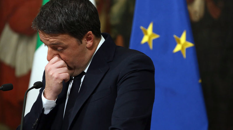 ROME, ITALY - DECEMBER 05:  Italian Prime Minister Matteo Renzi give a speech after the results of the referendum on constitutional reforms at Palazzo Chigi on December 5, 2016 in Rome, Italy. The result of the government referendum that could change the constitution is considered crucial for the political future of Italy and for the personal future of its Prime Minister.  (Photo by Franco Origlia/Getty Images)
