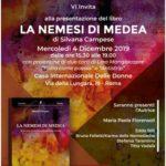 A Roma, alla Casa Internazionale delle Donne, sarà presentato il 4 dicembre 2019 il libro della Nemesiaca Silvana Campese LA NEMESI DI MEDEA – Una storia femminista lunga mezzo secolo